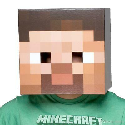 Minecraft Steve Head Costume Mask Halloween Party Decoration Cosplay Prop Play