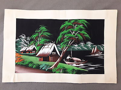 Vintage Asian Original Painting on Silk