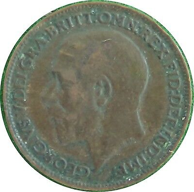UNITED KINGDOM  U.K.  Farthing 1/4 d 1913 King George V  good FINE        (5428)