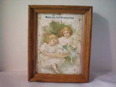 Beautiful Vintage Maple City Self Washing Soap Card Advertisement Framed