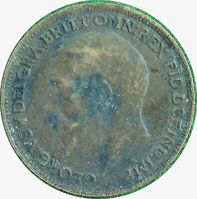 UNITED KINGDOM  U.K.  Farthing 1/4 d 1919 King George V  about VERY FINE  (5435)