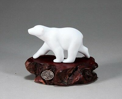 POLAR BEAR CUB Sculpture New direct from JOHN PERRY 4in long Burl base