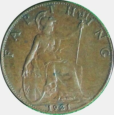 UNITED KINGDOM  U.K.  Farthing 1/4 d 1921  King George V about EXTRA FINE (5438B