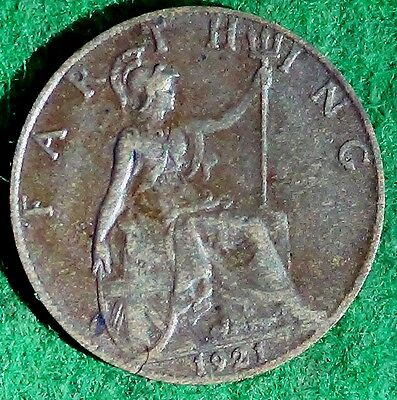 UNITED KINGDOM  U.K.  Farthing 1/4 d 1921  King George V about EXTRA FINE (5438A