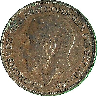 UNITED KINGDOM  U.K.  Farthing 1/4 d 1924  King George V about UNCIRCULATED