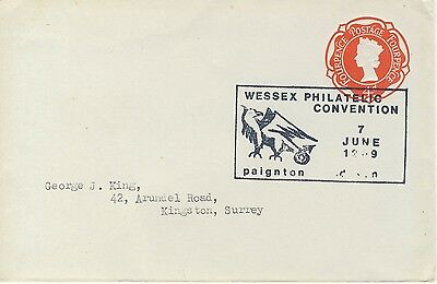 Wessex Philatelic Convention 7 June 1969 cancellation on 4d prepaid envelope