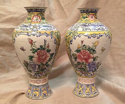 Fine Old Chinese Famille Rose HP Enamel Meiping Vase Pair
