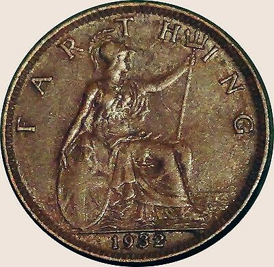 UNITED KINGDOM  U.K.  Farthing 1/4 d 1932  King George V about EXTRA FINE (5356)