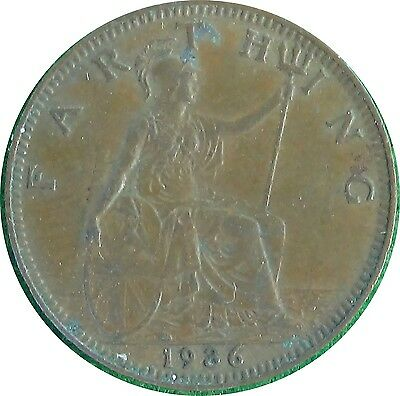 UNITED KINGDOM  U.K.  Farthing 1/4 d 1936  King George V   EXTRA FINE  (5453)