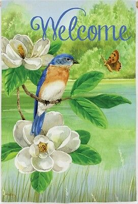 New Evergreen 2-Sided Garden  Welcome Flag Nature's Blessing Bluebird Magnolias