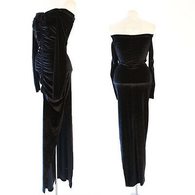 Vintage 80s black Velvet stretchy bodycon cocktail party Maxi dress S