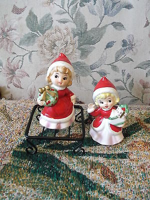 2 Giftcraft ceramic Holiday Shoppers in red hats & gowns  labels & G stamped