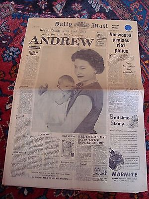 Daily Mail Prince Andrew Birth March 23rd 1960 Royal
