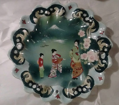 Hand Painted Nippon Geishas Reticulated Plate