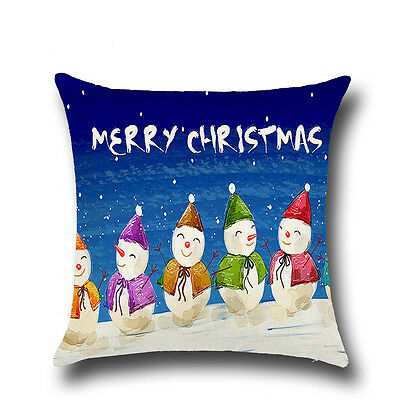 Christmas Linen Square Throw Flax Pillow Case Decorative Cushion Pillow Cover A