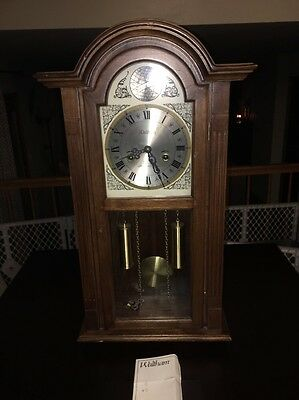 Vintage Waltham Grandfather Wall Clock Hangs 27 Inches Tall Very Nice