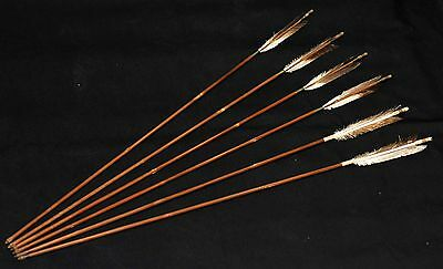 Set of 6 Old Japanese Arrows (Takeya) Bamboo from Japan #172