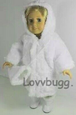 """White Fur Coat Hat American Girl Doll 18"""" & 15"""" Bitty Baby Doll Clothes LOVVBUGG"""
