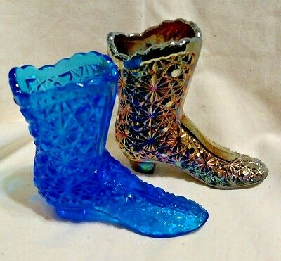 Vintage Fenton Boots, Blue & Carnival Glass, Daisy & Button Pattern