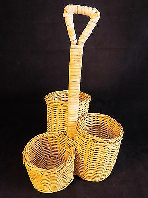 3 Compartment Wicker Cutlery Basket Storage Caddy Condiment Holder Bottle NICE