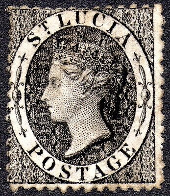 1860 St. Lucia 1d black stamp - used SG 11a