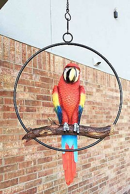 Patio Home & Garden Hanging Scarlet Macaw Parrot Perching on Branch In Metal ...