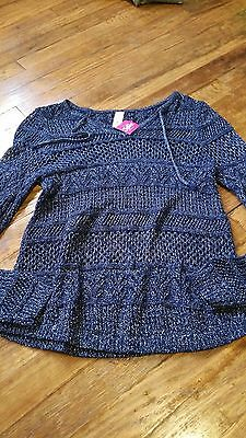 Justice Sweaters Girls Blue Silver Size 16 Nwt Free Shipping