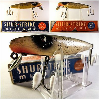 Vintage Wooden Shur Strike Minnow Lure Complete With Original Box