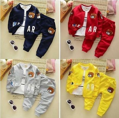 3pcs spring kids baby boys Girls Top T-shirt+Pants clothes Outerwear Outfits Set