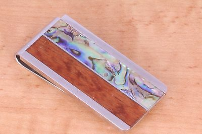 men's money clip, stainless steel with wood and abalone shell inlaid
