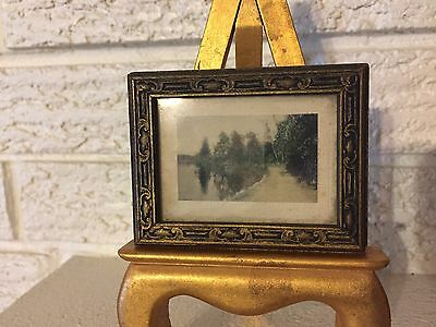 Antique Tintype Image of Road And Trees Reflected in Lake w Old Description