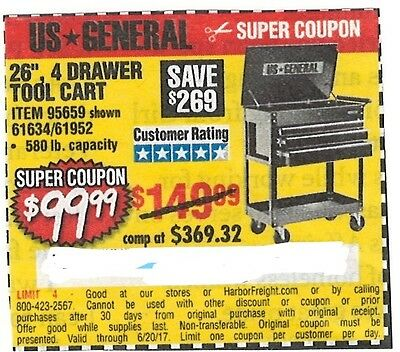 "26"" Four Drawer Tool Cart, US General, Harbor Freight Super Coupon, Save $269.00"