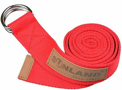 Yoga Strap with Metal D-Ring and Leather Accents 6 Foot Length 1.65 Inch Width