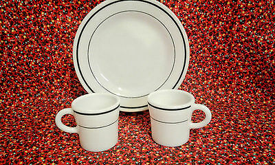 Restaurant Ware - Anchor Hocking/Corning Combo - 1 Plate 2 Cups - Matching