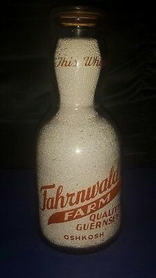 Oshkosh Fahrnwald cream top quart milk bottle