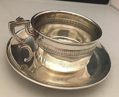 STUNNING Antique c1880 French Sterling Silver Tea/Coffee Cup & Saucer -L558