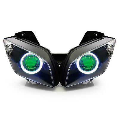 KT LED Angel Eyes Projector Headlight Assembly for Yamaha R15 2012-2016 Green