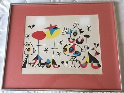 "Joan Miro Vintage Print Surrealist Mid Century Wall Art Abstract 11"" by 14"""