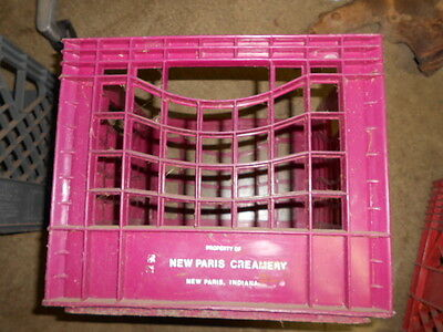 Vintage New Paris Creamery  Dairy Plastic Milk Crate Plum Color
