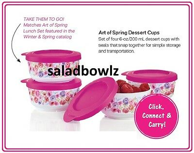 TUPPERWARE New ART OF SPRING 6 OZ DESSERT CUPS, 4 Cup SET in Fuchsia Kiss Pink