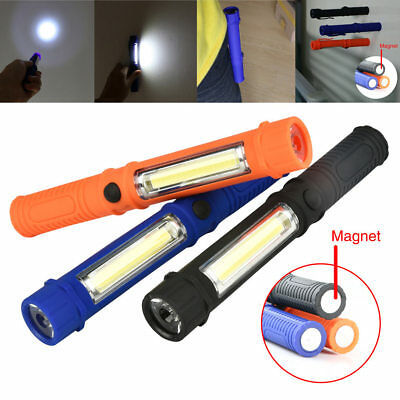 Portable LED COB Magnetic Pen Clip Hand Torch Work Light Inspection Lamp Bright
