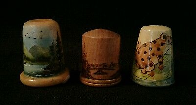 Lot of 3 Wood Thimbles Painted Frog - Painted River - Carved Trees