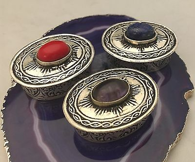 Set/Lot of 3 Vintage Solid 800 Sterling Silver Pill Boxes/Snuffbox w/ ��Stones��