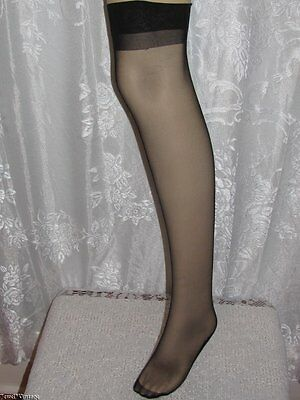 Vintage Black Heel and Toe Seamed Nylon Stockings~Made in Italy~Size 10
