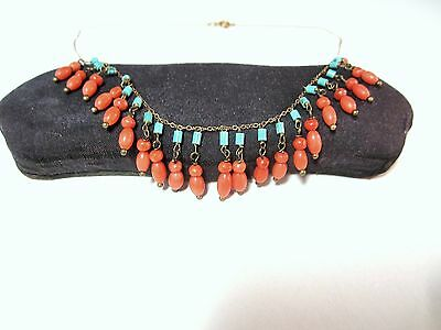 """Antique vintage gold filled chain & coral  turquoise  beads necklace 15"""""""