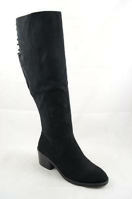 BLACK UNION-13S Women Suede Back Lace Up Blocked Heel Knee High Boot Size 6.5