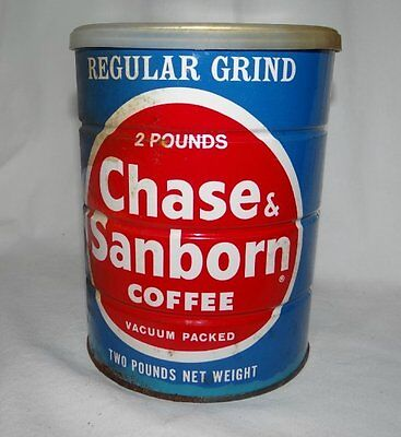 Vintage Chase & Sanborn Coffee Can Regular 2 Pound Empty Tin Can