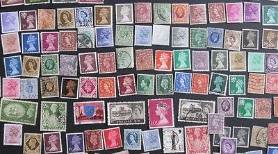 110 GREAT BRITAIN STAMPS definitives on paper used.  Lots of duplicates.