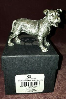 Faithful Friends Pewter Staffordshire Bull Terrier Puppy Dog Figure - Standing