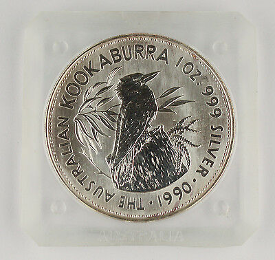 Australia Kookaburra 1990 1 Oz 999 Silver $1 Coin BU in Original Square Holder